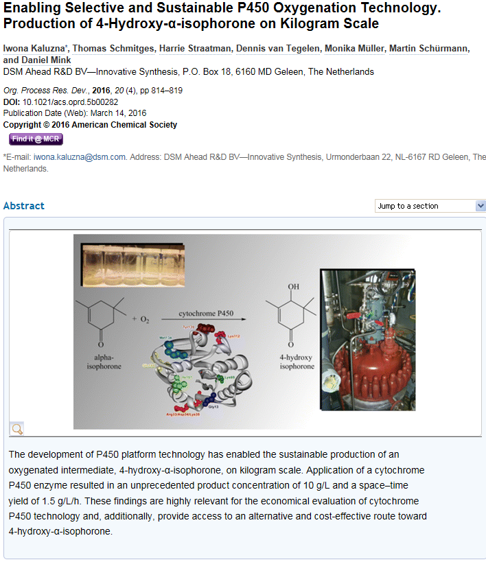 DSM publish seminal paper on Cytochrome P450 scale-up in Organic